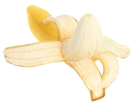 banana peel: Ripe banana on a white background.