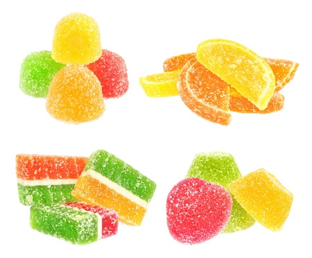 Fruit candy on a white background. photo