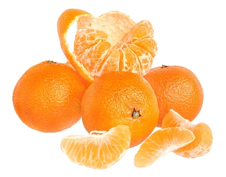 paring: Ripe tangerines on a white background
