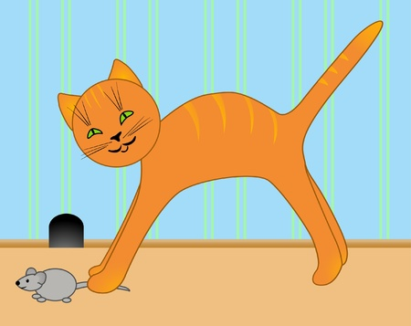 Vector drawing of a kitten and mouse  Vector