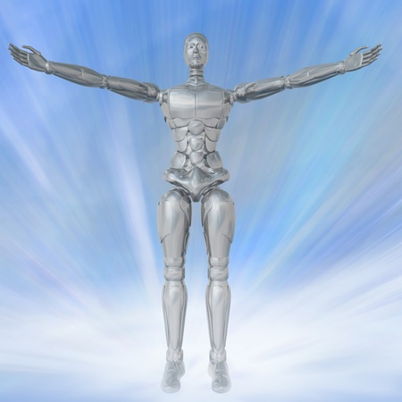 cybernetic: Three-dimensional image of the cybernetic man on a fantastic background