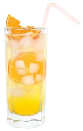 Cocktail with ice cubes on white background  photo