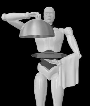 A three-dimensional image of a robot waiter jn a black background  photo