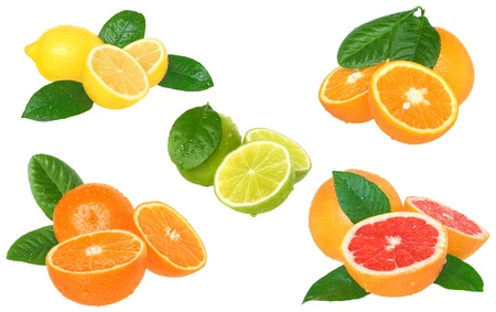 tangerines: The set citrus on a white background.