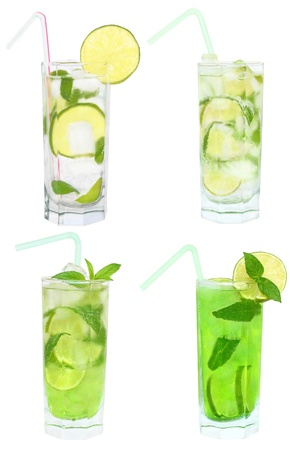 Set of four cocktails on a white background.
