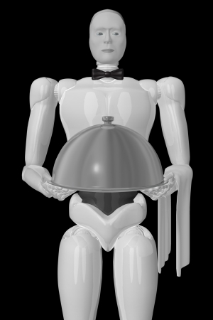 A three-dimensional image of a robot waiter jn a black background. photo