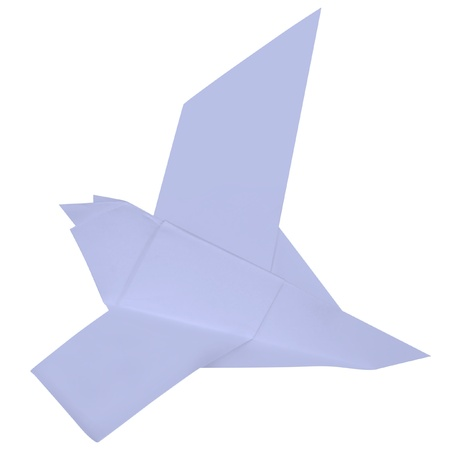 Blue origami dove on a white background. photo