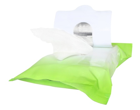 damp: Packing with damp napkins on a white background. Stock Photo