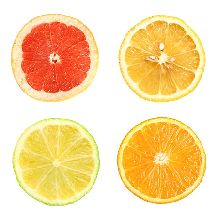 Set of citrus fruit on a white background.