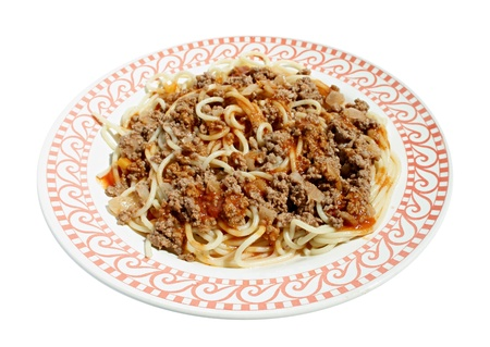 forcemeat: Spaghetti with forcemeat on a plate.