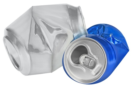 Crumpled can on white background photo