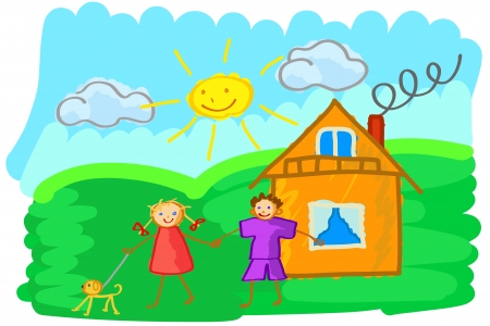 Vector illustration of child's drawing which depicts a boy and girl holding hands in summer sunny day