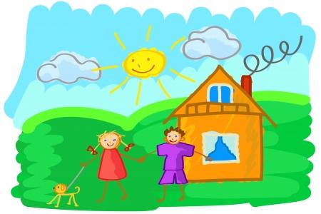Vektor-Illustration von Kinder-Zeichnung, die einen Jungen und Mädchen mit Händen im Sommer sonnigen Tag zeigt Vektorgrafik