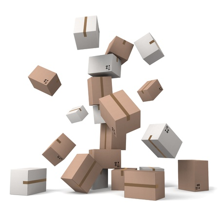 Crumbling tower of cardboard boxes scatters in different directions on a white background.