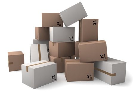 The group of cardboard boxes