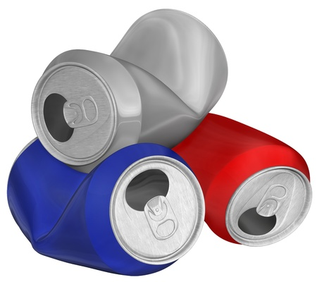Three-dimensional image of heap crumpled aluminum cans isolated on white background  Reklamní fotografie