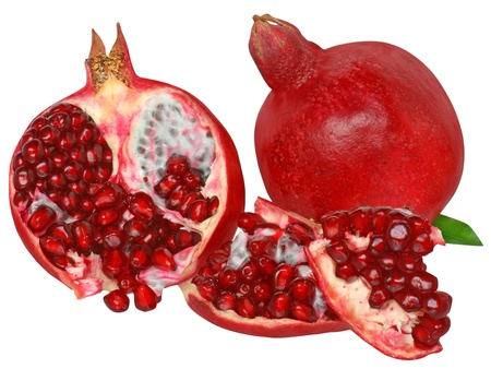 Ripe pomegranate isolated on white background  photo
