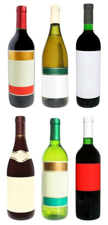 Bottles with a wine on a white background. photo