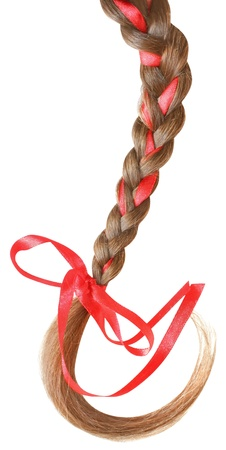 Women braid decorated with a red bow isolated on white background. photo