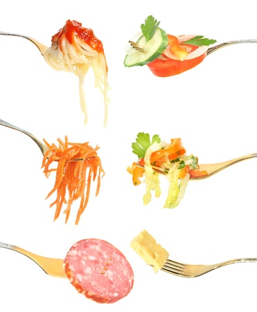 Food on a fork on a white background. photo