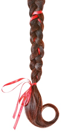 fair hair: Women braid decorated with a red bow isolated on white background  Stock Photo