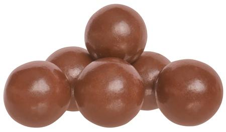 Chocolate balls on a white background. photo