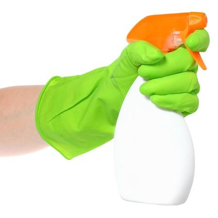 desinfectante: Limpiador en una mano en un fondo blanco.