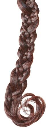tress: Women braid on a white background.