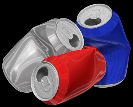 Three dimensional image of heap crumpled aluminum cans isolated on black background. photo