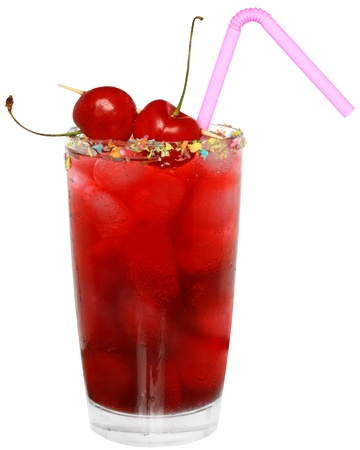 Fruit cocktail with cherry and ice cubes in a glass decorated with multicolored coconut on white background. photo
