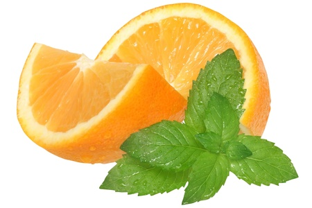 Sliced oranges with mint leaf on a white background.