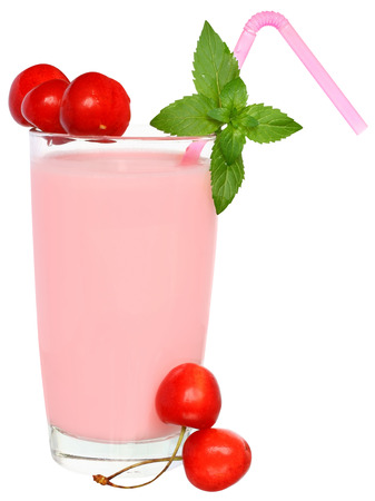 Strawberry Shake decorated pair of cherries on a white background.