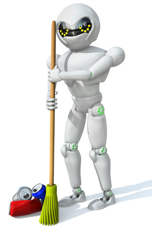 three-dimensional image of a robot cleaner with a broom in his hand a bunch of the cleaning aluminum cans on a white background. Stock Photo