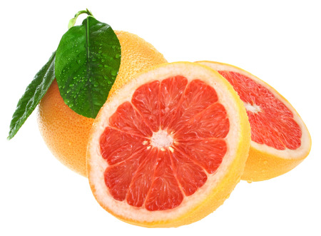 Grapefruit on a white