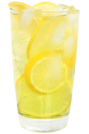 Lemonade with ice cubes and sliced lemon on white background.