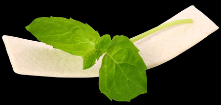 -Guma do żucia: Chewing gum with mint leaf on white background.