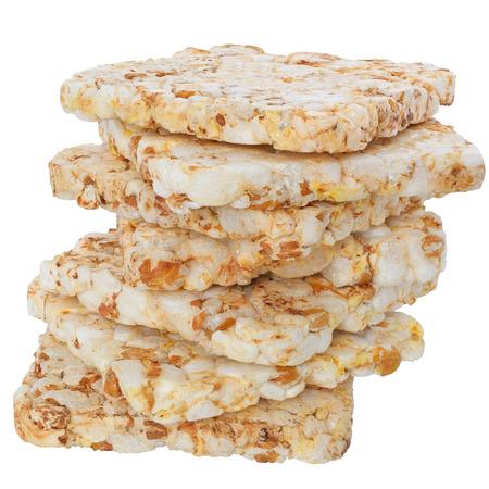 heap: Heap slice of crispbread on white background.