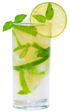 highball: Mojito cocktail with lime and ice cubes and leaf mint in a highball glass on a white background.