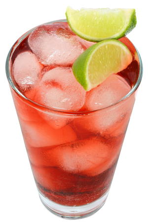 cranberry juice: Cocktail with cranberry juice and lime top view on white background.