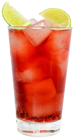 cranberry juice: Cocktail with cranberry juice and lime on white background.