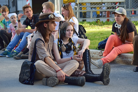 subcultures: Novosibirsk, Russia - June 6, 2015: The festival of youth subcultures Znaki. Among the participants especially a lot of cosplayers.