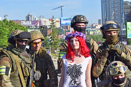 invade: Novosibirsk, Russia - June 6, 2015: The festival of youth subcultures and cosplay Znaki. Among the participants especially a lot of cosplayers. Editorial