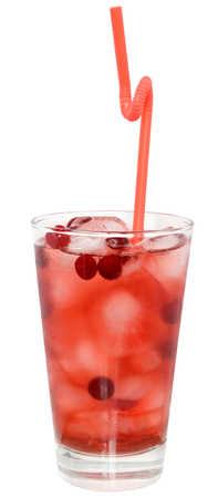 cranberry juice: Cocktail with cranberry juice and ice cubes on white background.