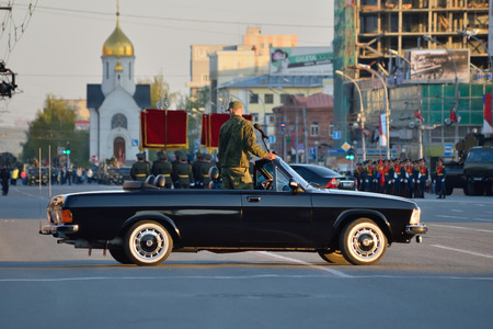 Novosibirsk, Russia - May 7, 2015: Dress rehearsal of the military parade in honor of Victory Day. Editorial
