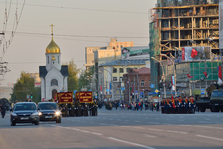rehearsal: Novosibirsk, Russia - May 7, 2015: Dress rehearsal of the military parade in honor of Victory Day. Editorial