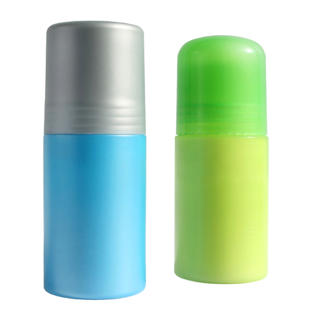 aftershave: Blue and green bottles with a deodorant on a white background.
