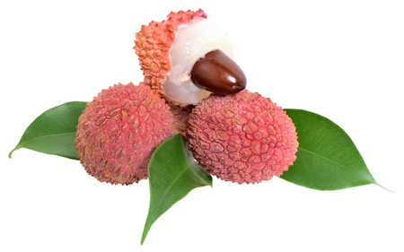 Fresh lychee exotic fruit with leaf isolated on a white background.