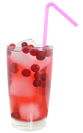cranberry juice: Cocktail with cranberry juice and ice cubes isolated on white background.