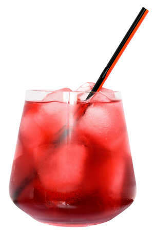 Cocktail with cranberry juice and ice cubes isolated on white background.