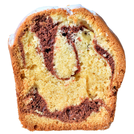 Cut ​​marble cake closeup isolated on white background.